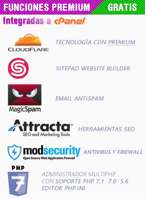 Muchos proveedores de hosting explican lo básico, pero no te amplían en lo que en realidad es importante y son las funciones premium que vienen integradas a tu cuenta de CPanel. En Neominios.com queremos que te sientas cómodo y seguro de confiar en que hacemos todo lo posible para que no te pierdas del mejor CDN del Internet de la mano de CLOUDFLARE, SitePad para que puedas construir tu website en cuestión de minutos, Protección de Spam y Antivirus, Herramientas para optimizar el SEO de tu web con ATTRACTA y acceso a poder editar opciones más avanzadas del servidor apache con Soporte a la última versión de PHP 7.1